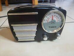 Nice Retro Black Timex T247B Alarm Clock AM/FM Radio Tested Works Great