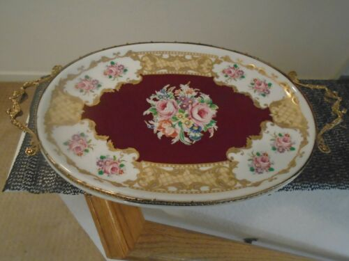 VINTAGE CERAMICHE ALFA PORCELAIN PLATTER WITH GOLD FOOTED FRAME