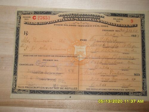 Prohibition Liquor Prescription dated October 2, 1924, FREE SHIPPING