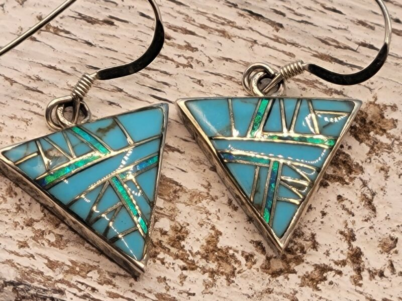 Vintage Native American JN Turquoise Fire Opal Inlay Sterling Silver Earrings