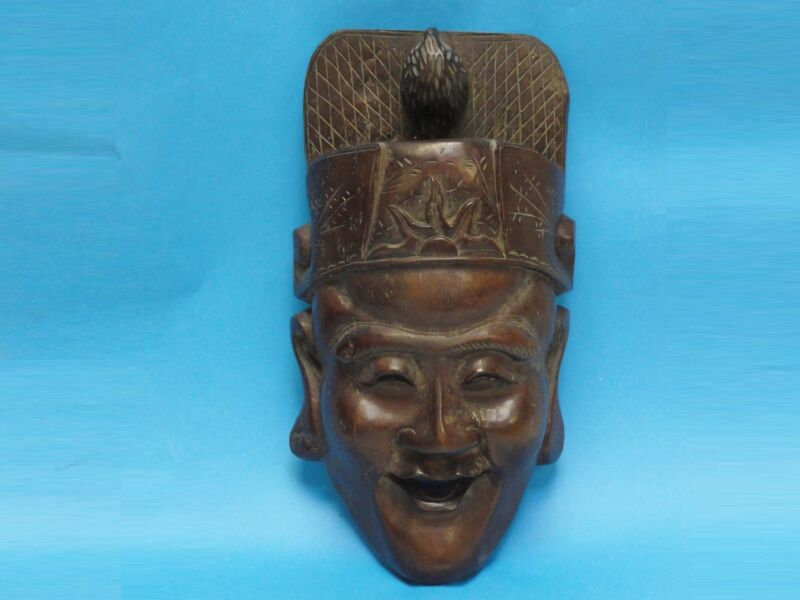 MONUMENTAL VINTAGE EARLY MID CENTUY CHINESE CARVED HONGMU WOOD MASK