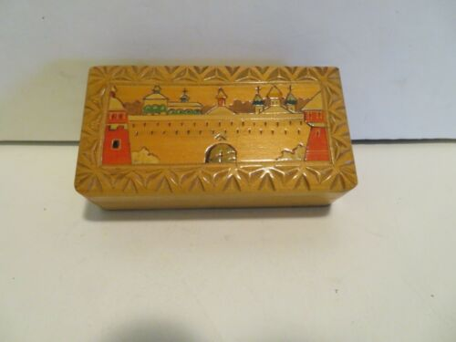 ISRAEL VINTAGE JEWELRY TRINKET BOX WOODEN CARVED 5 X 2 1/2 X 1 INCH