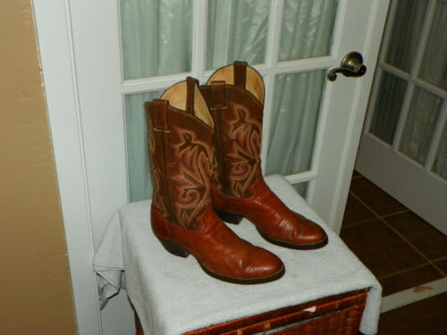 JUSTIN, Brown, Leather, Lizard, Skin, Cowboy, Western, Boots, Mens, Size, 8.5, D, Style, 9147