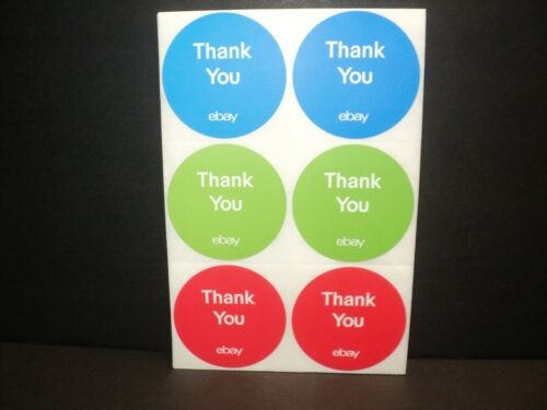 "NEW 100 Round eBay-Branded Thank You Stickers 3"" x 3"" Red, Blue, Green"