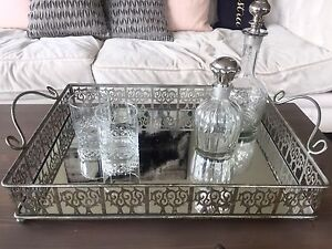 Gorgeous Vintage Mirrored Tray with 2 Decanters and Glasses