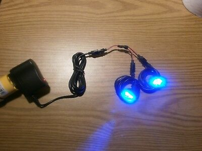 "Aquarium Lights Dual 6 LED Blue 0.75"" Round Heads 5VDC with 120VAC Power Supply"