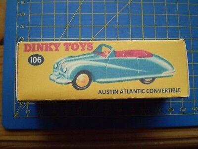 Dinky Toys 106 Austin Atlantic Black Convertible empty Repro box