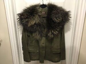 Ladies leather jacket green