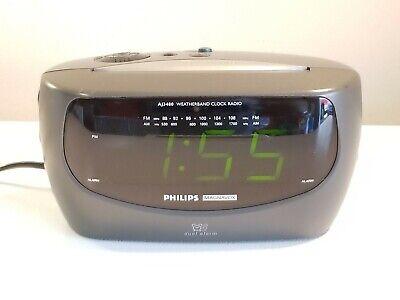 Philips AJ 3430/17 Clock AM/FM Radio Dual Alarm Clock w/Weather Radio - Tested