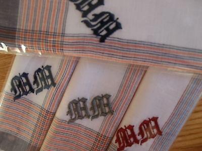 Herrenmonogrammtaschentücher 2X3 im Foliebeutel verpackt,farbig/weiß/paste