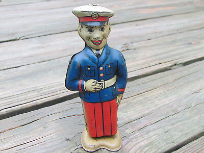 J. Chein Company Vintage Tin Wind Up Walking Military Marine Man Works