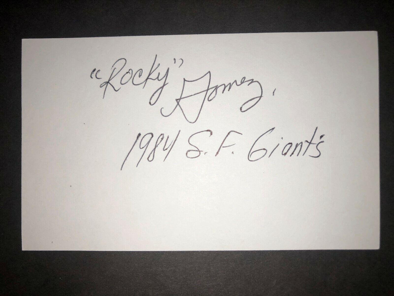 1984 GIANTS Rocky Gomez, SIGNED 3x5 Card JS  - $1.99