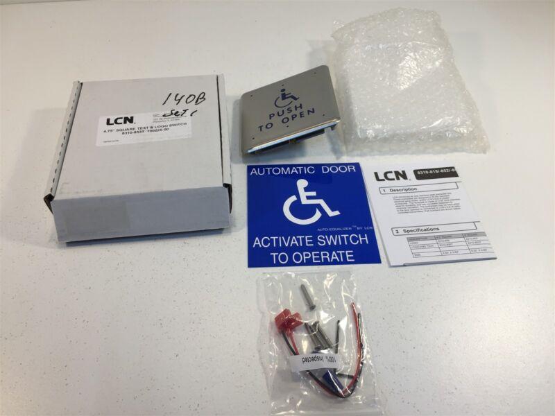 "LCN 4.75"" Square Text & Logo Switch Handicap Push Plate 8310-853T"