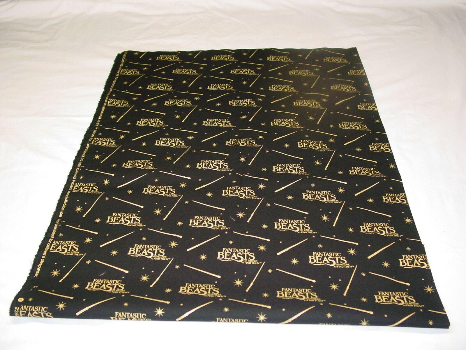 FANTASTIC BEAST GOLD BLACK 100 COTTON FABRIC REMNANT LENGTH 33 X WIDTH 42  - $10.50