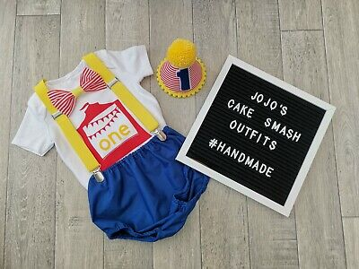 Carnival Themed Outfits (Baby Boys 1st Birthday Cake Smash Outfit, circus theme. Handmade, photo.)