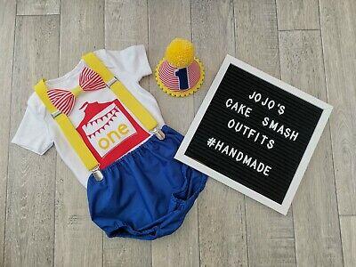 Baby Boys 1st Birthday Cake Smash Outfit, circus theme. Handmade, photo. ](Circus Theme Cake)