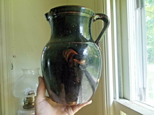 1890s GALLON OVOID BROWN GLAZED STONEWARE PITCHER WITH HANDLE NICE GLAZE SPOTS