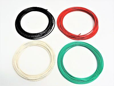 16 Gauge Wire White Green Red Black Primary Awg Stranded Copper Power 25 Ft Ea