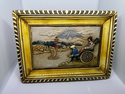 Vintage Asian Rickshaw & Geisha Picture (3D), with Mount Fuji scenery