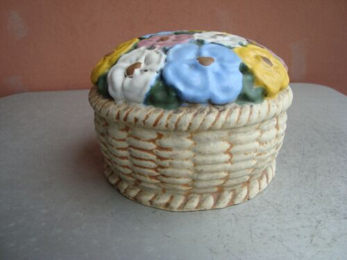 "American Terra Cotta Teco Matte Polychrome 4"" by 6"" Flower Basket Doorstop #1"