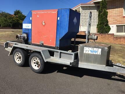 "Sykes QSCP1500 150mm/6"" silenced water pump.Berwick bogie trailer"