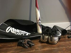 Rawlings Bat Bag, Nike size 10.5 cleats  Easton 27 oz bat