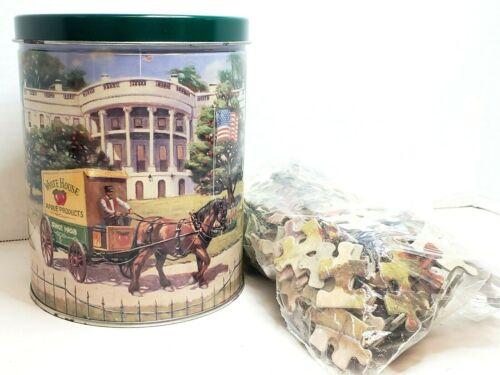 White House Apple Cider Advertising Collectible Tin and Puzzle