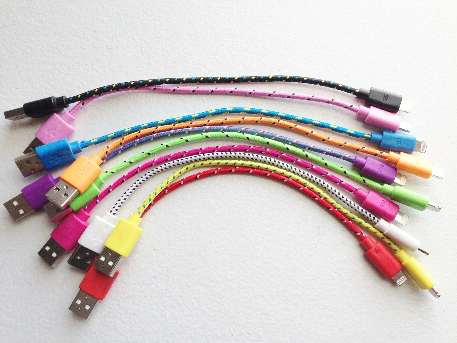 20cm Short Mini Fabric Braided Charger Cable USB FOR apple i