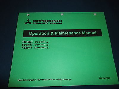 Mitsubishi Fb16nt Fb18nt Fb20nt Forklift Operation Maintenance Book Manual