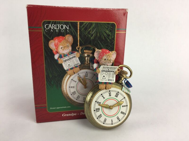 Carlton Cards Grandpa 2001 Mouse on a Pocket Watch Ornament