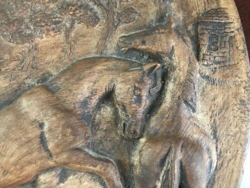 "Rare~MIRAMAR OF CALIFORNIA Wall Plaque - Raised Relief Horses - Marked #188 14"""