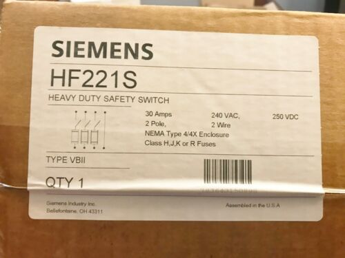 NEW SEALED BOX SIEMENS HF221S SS HEAVY DUTY SAFETY SWITCH 4/4X 240V BEST PRICE