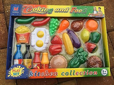 Pretend Play Food Playset Plastic Toy Set Kids Toddler Cooking Kitchen