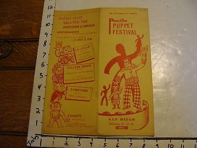 Vintage Puppet Festival Program: PACIFIC PUPPET FEST. SAN DIEGO 1963, POA