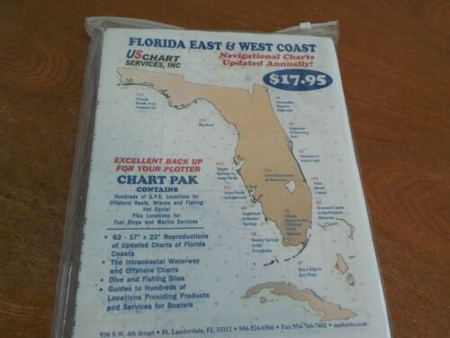 2007 Florida East & West  Coast Navigational Paper Charts & Case - # 1-#14 . New
