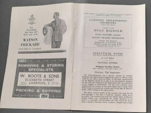 1954 Louis Kentner Piano Liverpool Philharmonic Society Programme  Hugo Rignold