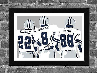 Dallas Cowboys Smith Aikman Irvin Portrait Sports Print Art 17x11 (Dallas Cowboys 17)