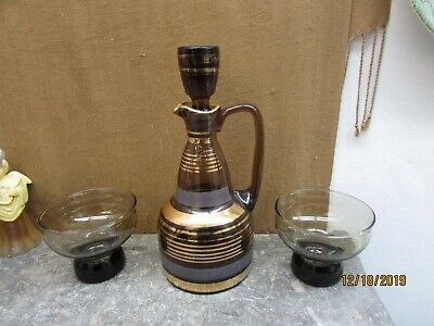 VINTAGE MCM HAND BLOWN GLASS DECANTER BROWN GLASS GOLD STRIPES