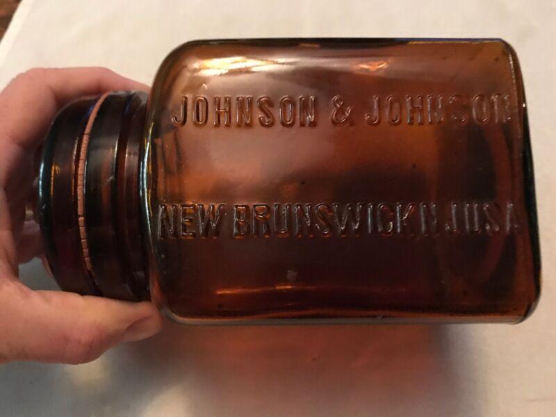 1896 Johnson & Johnson Amber Glass Medicine Jar, New Brunswich N.J.