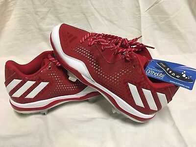 74ea89438f3 Adidas PowerAlley 4 Softball Cleats Red White (Q16595) Women s Size 7.5