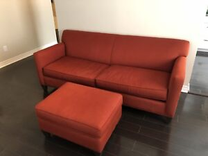 Feather Sofa with Pumpkin Orange Fabric from Crate and Barrel