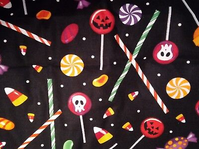 HALLOWEEN FAT QUARTER  COTTON FABRIC DECOR FQ TRICK OR TREAT CANDY BLACK ORANGE - Halloween Treats Decorations