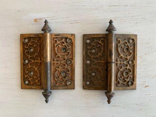 Pair Antique Entrance Door Brass Hinges 5x5 Old Vtg Victorian 133-20J