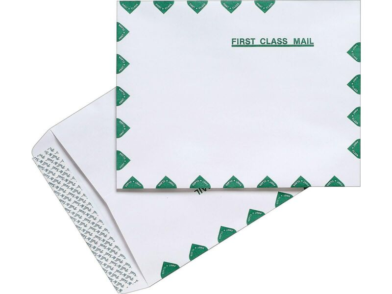 """MyOfficeInnovations First-Class EasyClose Catalog Envelopes 10"""" x 13"""" White 100"""