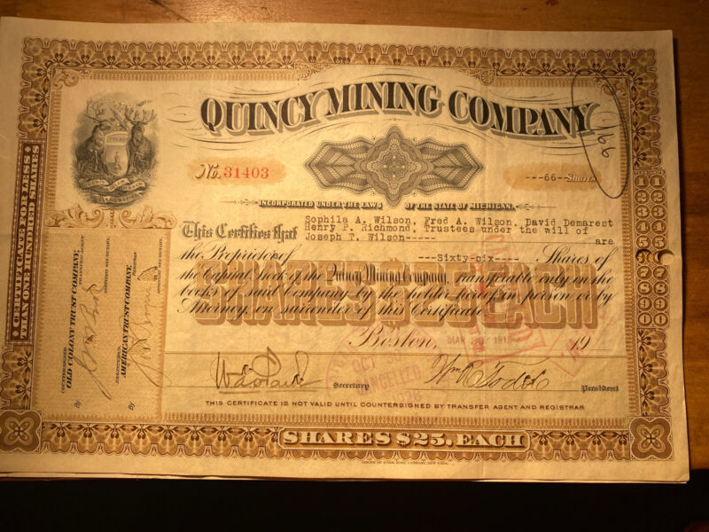 Quincy Mining Company Mining Stock Certificate