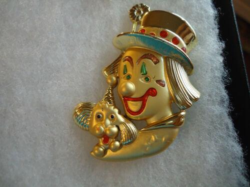 Danecraft vtg/nos enamel Circus Clown Trick Dog pin