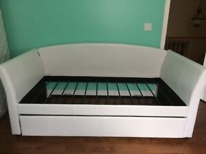 White Leather Day Bed and Mattress