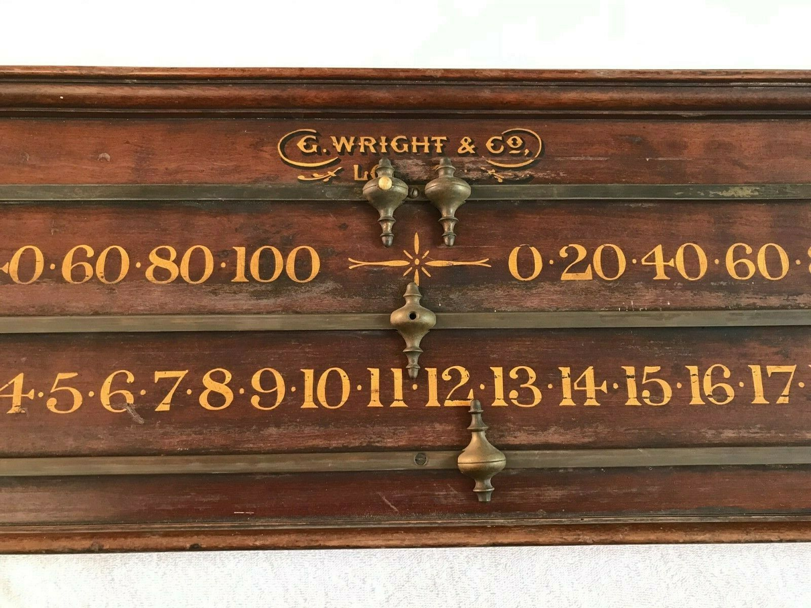 Antique Vintage Snooker Billiards Scoreboard G Wright and Co London Gold Letters