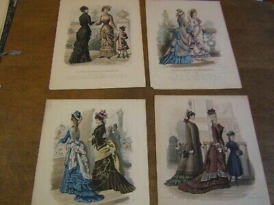 4x ancienne gravure de mode / grand format / planche 32 x 24,5 cm XIXèm 4 pièces