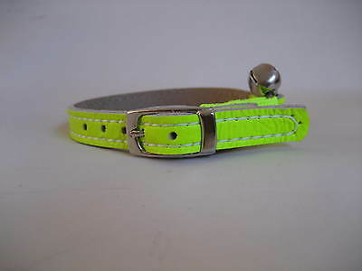 LEATHER GREEN FLURO CAT COLLAR